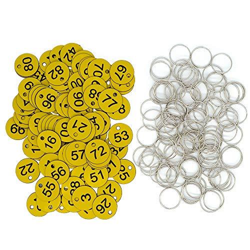 Etichette in plastica con numero identificativo inciso con anelli chiave (giallo, 1-200)