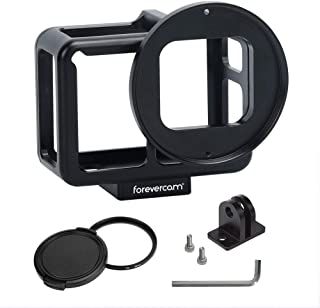 Aluminium Housing Case Alloy Protective Skeleton Frame with 52mm UV Filter and Lens Cap for Gopro Hero 5/6/GoPro HERO7 Black Action Camera Black with Rear Door (Gopro Hero 7 Black Aluminium Case)