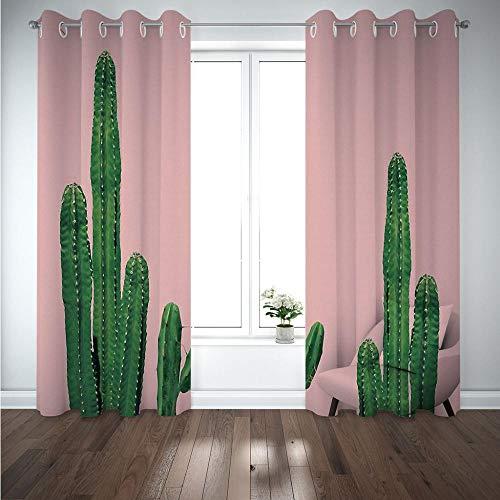 MENGBB Cortina Opaca Microfibra Infantil 230x180cm Cactus Verde 95% Opaca Cortina aislantes de frío y Calor Decorativa con Ojales Estilo para Salón Habitación y Dormitorio