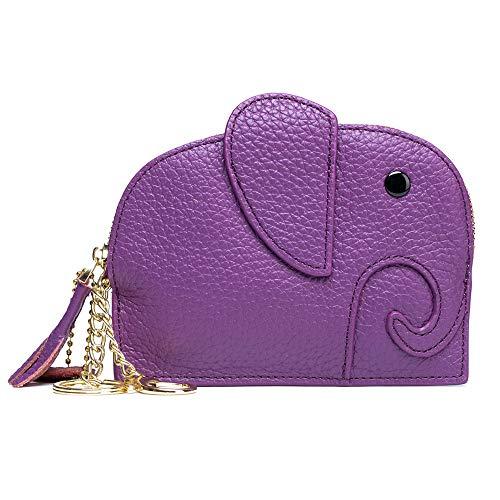 Mingtianzhan Mini porte-monnaie en cuir pour femme Motif éléphant Violet
