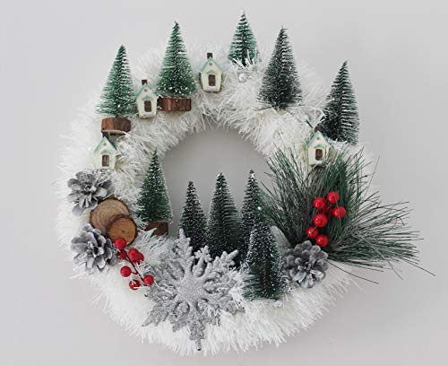303-Collyda 16 inches White Christmas Front Door Wreath with Shiny Snowflake, mountain village scenery with pine trees and village houses, Christmas berries and real pine cones. Perfect for Christmas.
