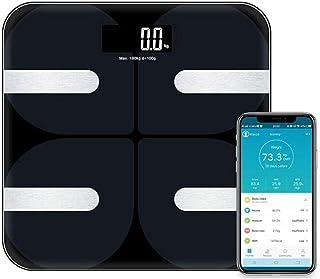CCJW Báscula Inteligente Bluetooth Bluetooth Báscula de Grasa Corporal Escala electrónica de Grasa Corporal Escala Báscula Digital electrónica báscula de baño Soporte iOS y Android App