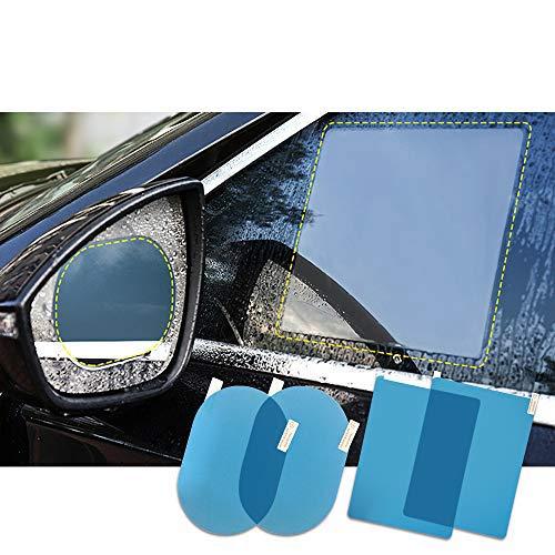 FMS 4 PCS Oval y Rectángulo Película de espejo retrovisor impermeable para coche resistente a la lluvia, antivaho, antiarañazos, impermeable película de cristal lateral (Oval*2+Rectángulo*2)