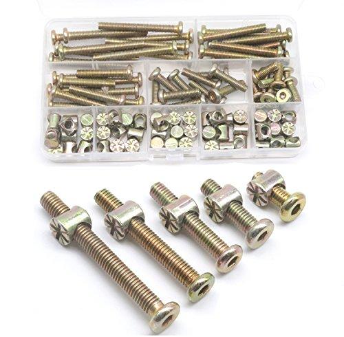 Baby Bed Screws Bolts Kit, cSeao M6 Hex Drive Socket Cap Bolts Barrel Nuts Assortment Kit, M6 x 15mm/ 25mm/ 35mm/ 45mm/ 55mm for Crib Cot Chairs, 100pcs Zinc Plated