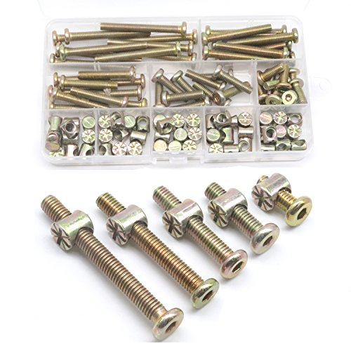 Baby Bed Screws Bolts Kit, cSeao M6 Hex Drive Socket Cap Bolts Barrel Nuts Assortment Kit, M6 x 15mm/ 25mm/ 35mm/ 45mm/ 55mm for Crib Cot Chairs, 100pcs Zinc Plated