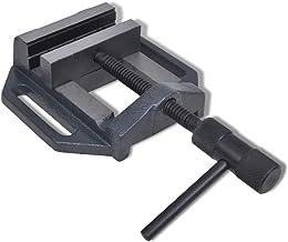 vidaXL Tornillo de Banco Manual Portátil 90 mm Hierro Fundido Soporte Taladro