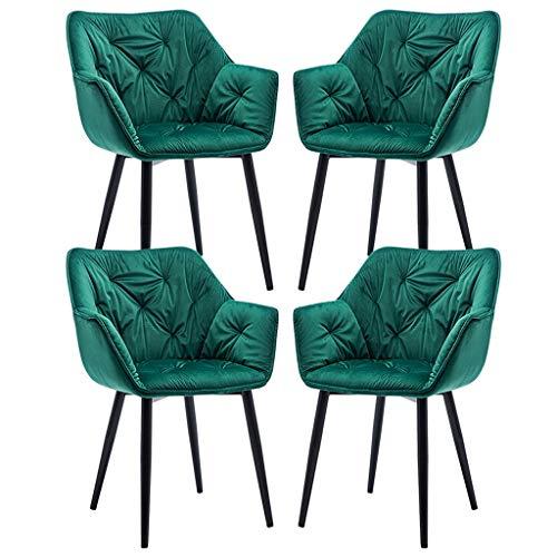 ZCXBHD Set von 4 Dining Chair Küchentheke Stuhl Lounge Freizeit Wohnzimmer Eckstuhl Sessel Velvet Empfang Stuhl mit Rückenlehne und Armstützen und Metall Beine (Color : Green)