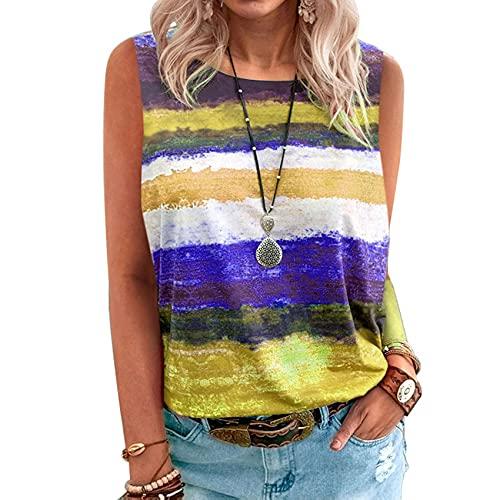 Wsgyj52hua 2021 Nuevo Verano Mujeres Europeas Y Americanas Estilo Caliente Degradado Contraste Chaleco Camiseta Mujer