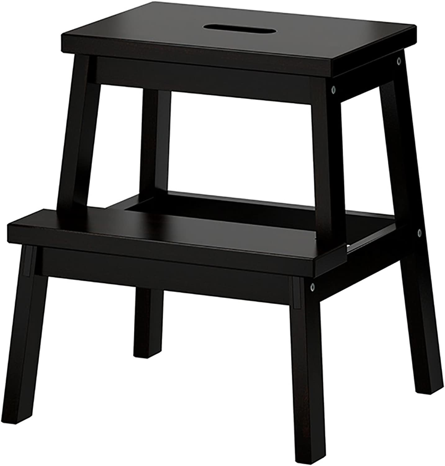 WUFENG Ladder Stool Dual-use Stool Step Stool Solid Wood Two Layers shoes Bench Two colors Optional 45x25x50cm ( color   Black )