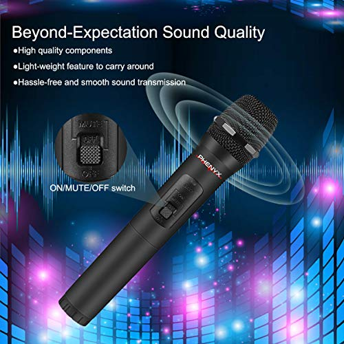 4 Channel VHF Wireless Microphone, Phenyx Pro 4-Channel Wireless Microphone System with 4 Handheld Mics, Metal Receiver, Long Distance Operation, Ideal for Church, Party, Outdoor Events (PTV-2000A)