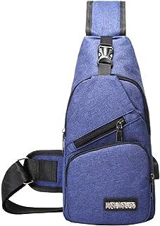 Clenp Bolsa de pecho para hombre, de moda, para deportes al aire libre, con cremallera, bandolera y puerto de carga USB