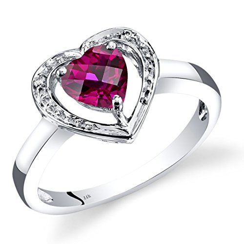 14K White Gold Created Ruby Diamond Heart Shape Promise Ring 1 Carats Total