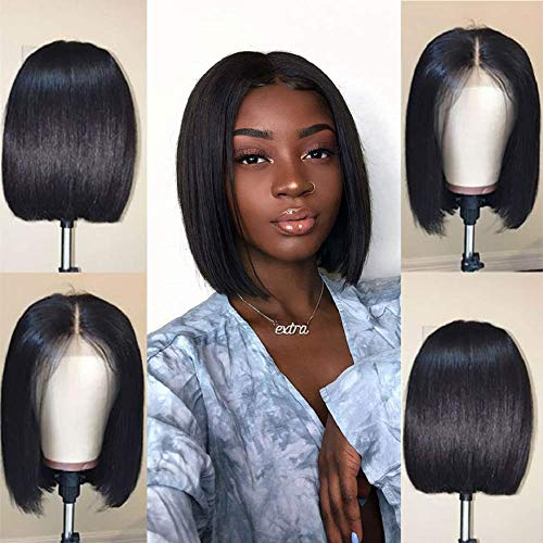 Short Black Human Hair 4X4 Lace Front Bob Wigs for Black Women Brazilian Virgin Lace Front Bob Wig Pre Plucked Natural Hairline with Baby Hair Bleached Knots 8 Inch 150% Density