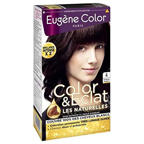 Eugène Color Crème colorante permanente 4 châtain acajou, nutri protectrice aux extraits d'olive - La boîte de 115ml