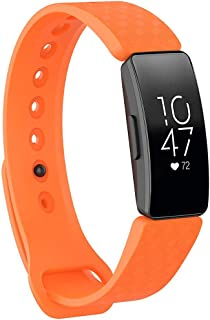 Replacement Strap Compatible with Fitbit Inspire& Inspire HR Activity Tracker - Hamkaw 3D Texture Soft Silicone Smart Watch Accessories Strap Wristbands for Women Men Orange