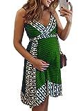 Tomwell Vestidos para Premamá Sin Mangas Falda De Tirantes Cuello En V Irregular Falda Costuras Vestidos Embarazadas con Borde De Cinturón Mini Vestido Verde 48