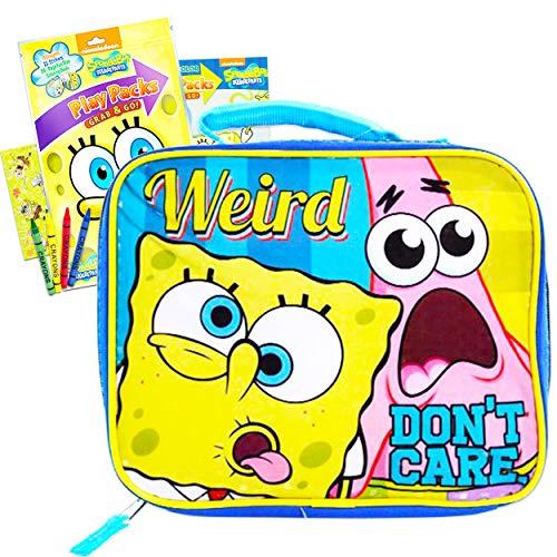 Spongebob Squarepants Lunch Box Insulated Kit for Boys Girls Kids with Bonus Stickers (Spongebob School Supplies)
