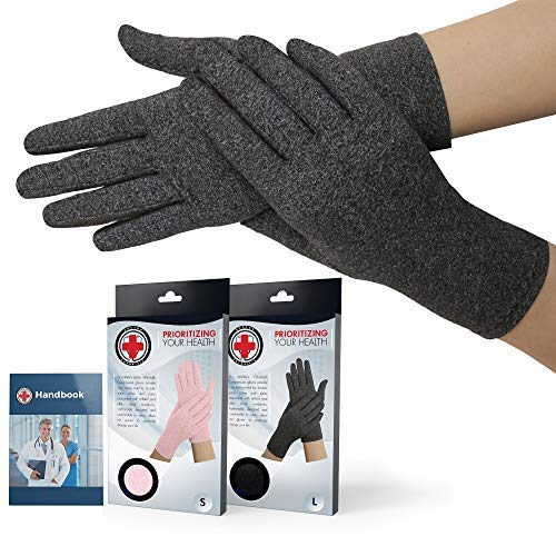 Doctor Developed Full Fingered Arthritis Compression Gloves (Grey) and Doctor Written Handbook - Soft with Mild Compression, for Arthritis, Raynauds Disease & Carpal Tunnel (Large)