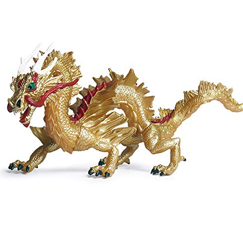DIYARTS Chinese Dragon Toy Extra Large Eastern Traditional Oriental Style Simulation Animal Model for Home Decoration or Children Playing (Gold)