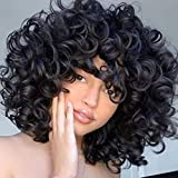Short Loose Curly Wigs FluffyWeave Curl Afro Synthetic Hair Wig Natural DailyHalf Wigs for Black Women and White Women Breathable Rose Net Wigs (Big Curly #1B)