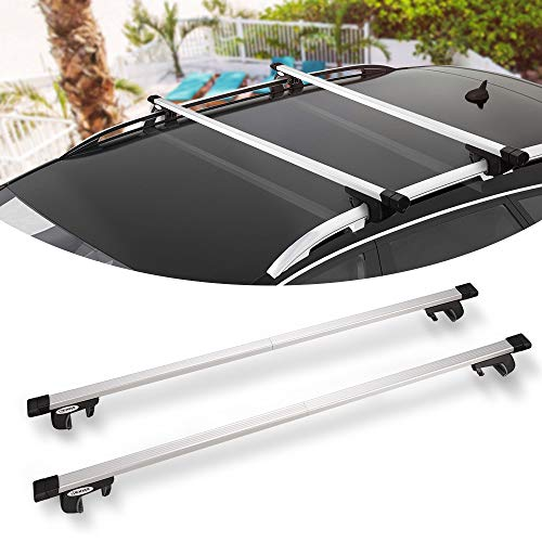 """BUNKER INDUST 58"""" Rooftop Cross Bars, Universal Side Rail Mounted Adjustable Aluminum Roof Rack Crossbars with Keyed Locking Mechanism for Vehicles-Carry Your Kayak, Cargo Basket, Roof Bag Safely"""