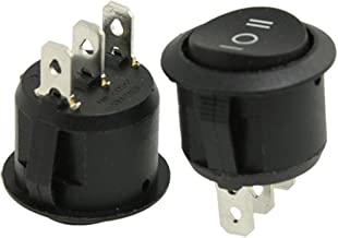 URBEST Rocker Switch 10Pcs ON/Off/ON SPDT Snap in Round Button 6A/250V 10A/125V AC for Auto Car Boat