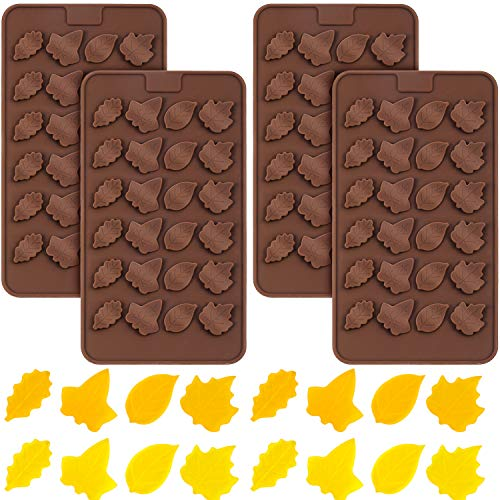 4 Pieces 3D Silicone Molds Maple Leaf Shape Candy Mold Thanksgiving Mold Decoration for Thanksgiving Halloween Making Candy Muffins Chocolates Cake Soap Candle