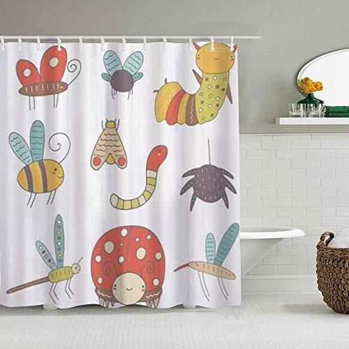 Cortina de Ducha Doodle Bugs y Smiling Dragonfly Ladybug Composición Forros de baño Impermeables Ganchos incluidos - Ideas Decorativas de baño Accesorios de Tela de poliéster