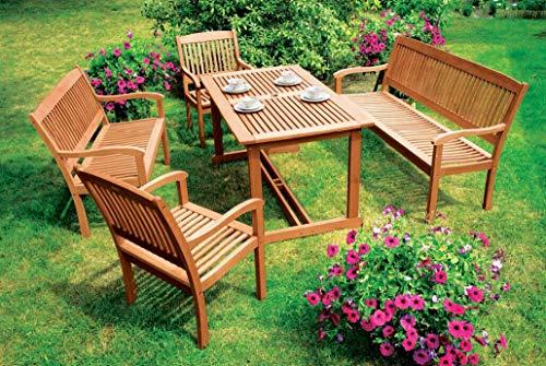 Luxus - Gartengarnitur 5-teilig Aus Eukalyptus Hartholz, Geölt