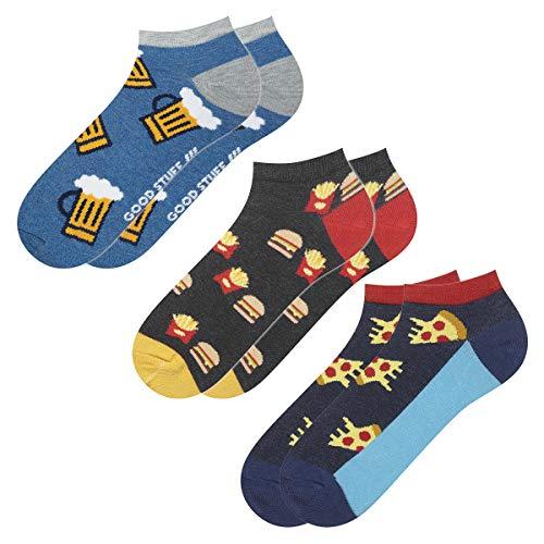 soxo Herren Bunte Sneaker Socken | Größe 40-45 | 3er Pack | Baumwolle Herrensocken mit Lustigen Motiven | Perfekt für Flache Schuhe | Tolle Ergänzung für Ihre Garderobe | Bier/Pizza/BurgerundPommes(III)
