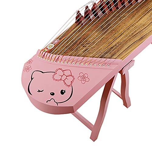 N /A Guzheng, Chinesisch Musikinstrument, 130cm Kleine Guzheng mit dem gleichen Ton als Professional Guzheng, 21 Streicher, mit einem kompletten Satz von Zubehör, Farbe: Rosa