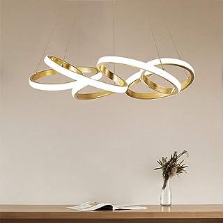 Luz colgante LED simple Salón Lámpara de techo Lámpara colgante dorada 78W regulable con control remoto creativa de metal y acrílico Lámpara colgante cocina lámpara de araña regulable en altura