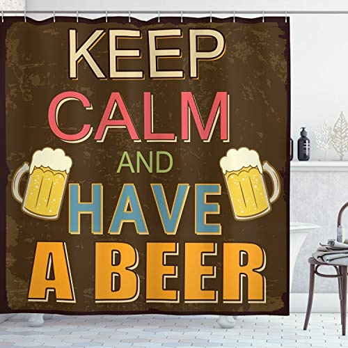 ABAKUHAUS Duschvorhang, Keep Calm and Have A Beer Beschriftung mit Zwei Kalten Hafer Bier & Braun Hintergr& Druck, Wasser & Blickdicht aus Stoff mit 12 Ringen Schimmel Resistent, 175 X 200 cm