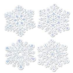 Beistle 4-Pack Packaged Glittered Snowflake Cutouts, 14-Inch