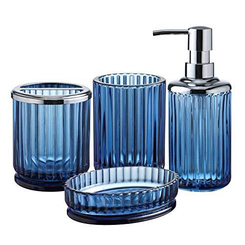 KMwares Decorative Pressed Pattern Glass Bathroom Accessories Set 4PCs - Includes Hande Soap Dispenser & Tumbler & Soap Dish & Toothbrush Holder - Blue