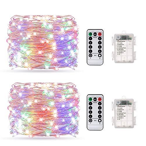 Aifulo - Juego de 2 luces LED con mando a distancia, cable de cobre resistente al agua, 2 unidades, 10 m, 100 luces LED para decoración de árboles