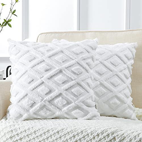 Artscope Juego de 2 fundas de cojín decorativas de lana corta, de terciopelo suave, para sofá, coche, dormitorio, hogar, color blanco puro, 55 x 55 cm