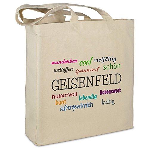 Stofftasche mit Stadt/Ort Geisenfeld - Motiv Positive Eigenschaften - Farbe beige - Stoffbeutel, Jutebeutel, Einkaufstasche, Beutel