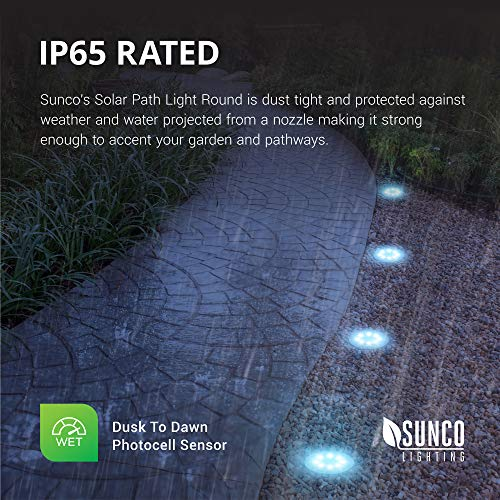 Sunco Lighting 12 Pack Solar Path Lights, Dusk-to-Dawn, 7000K Diamond White, Cross Spike Stake for Easy in Ground Install, Solar Powered LED Landscape Lighting - RoHS/CE