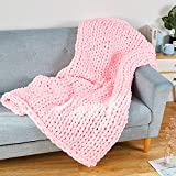 Chunky Knit Blankets, Hand Made Soft Chenille Yarn Big Knitted Throw Blankets, Chunky Cable Knitted Weighted Sofa Bed Blanket Machine, Washable Blanket, Beautiful Home Decor (50' x60' Pink)