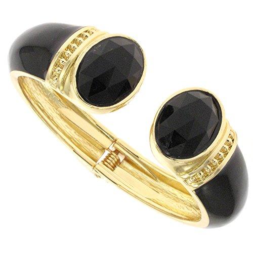 Vintage Gold Black Enamel and Jet Stone Bracelet Cuff Bangle