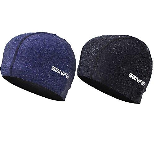 スイムキャップ 水泳キャップメンズ レデー 競泳 水泳帽 大人用 スイムキャップ スイミングキャップ プール帽子 防水 男女共用 青い+黒い 2枚セット