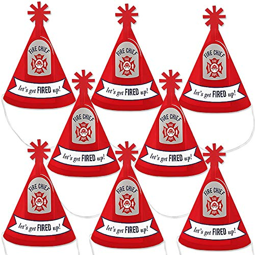 Buy Bargain Big Dot of Happiness Fired Up Fire Truck – Mini Cone Firefighter Firetruck Baby Shower or Birthday Party Hats – Small Little Party Hats – Set of 8