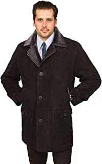Aston Leather Men's Broadway Shearling Coat Suede Black
