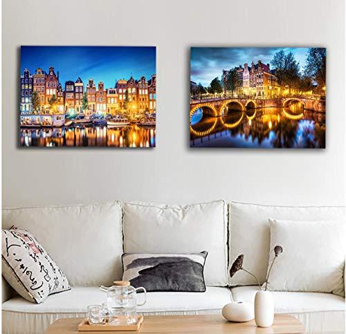 Amsterdam gracht brug stad nacht muur foto led canvas kunst oplichten decor schilderij kunstwerk afdrukken opknoping voor woonkamer 60x80cmx2 Geen Frame
