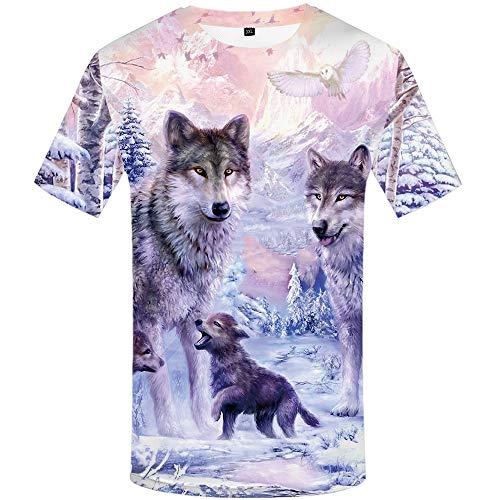 KYKU Wolf Family Tshirt Men 3D Printed Graphics Animal Love T-Shirt Short Sleeve (Large, Wolf Tshirt)