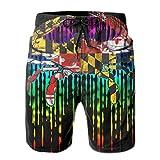 XCNGG Pantalones Cortos de Playa Maryland Flag Crab Rainbow Mens Swim Trunks Quick Dry Waterproof Beach Pants Beach Board Shorts with Pockets