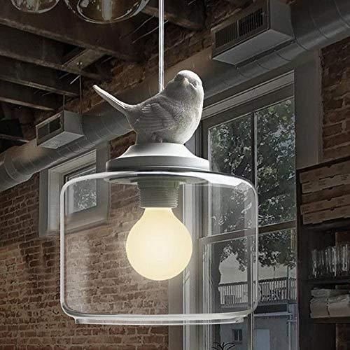 KAUTO Lámpara Colgante Pájaro de Resina Blanca Suave y Romántico con Lámpara de Techo con Pantalla de Vidrio Transparente Accesorio-Blanco