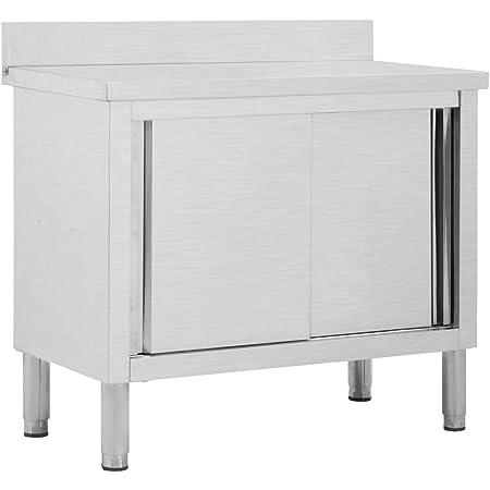 tavolo da cucina tavolo da cucina altezza: 100 cm Scaffalatura da cucina in acciaio inox a 3 ripiani banco di lavoro pesanti per cucine ufficio per la ristorazione commerciale