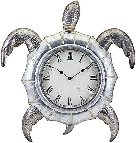 IMAX Tyler The Turtle Clock Hammered Galvanized Metal 26821